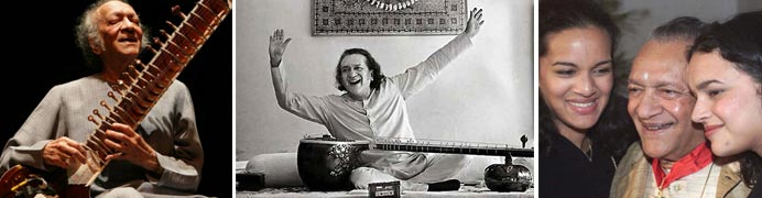 Three images showing Pandit Ravi Shankar